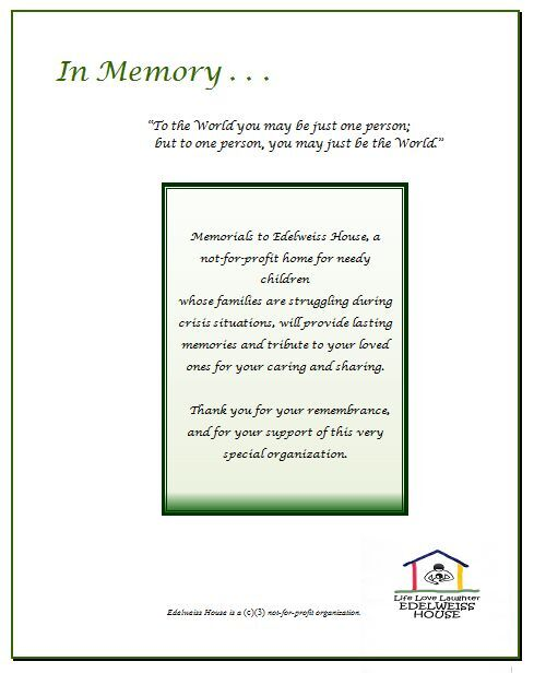 Funeral Card Example